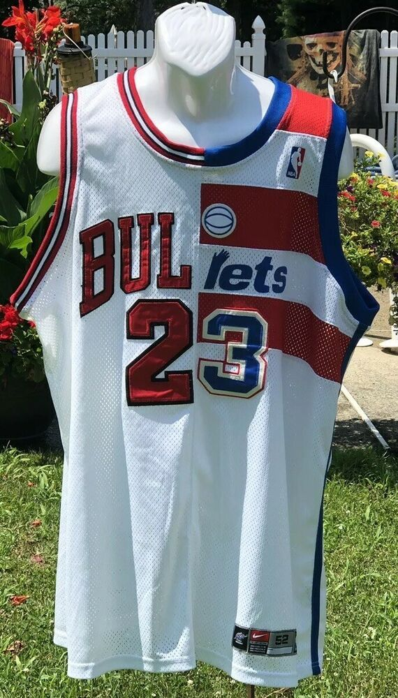 new product 08c72 db0e7 Nike Jordan Jersey Split Bulls Bullets XXL 52 Jersey 23 Half ...