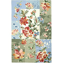 @Overstock - Complete your home decor with a hand-hooked area rug Contemporary rug features rich shades of sage, olive, red, green, blue and ivory Rug is constructed of a pure virgin wool pile http://www.overstock.com/Home-Garden/Hand-hooked-Flora-Panels-Multicolor-Wool-Rug-79-x-99/4446989/product.html?CID=214117 $349.52