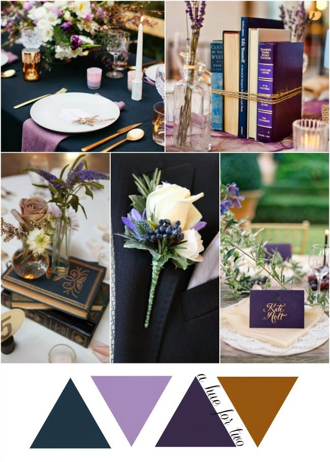 Navy, Lavender and Copper Vintage Wedding Colour Scheme - Wedding Colors - A Hue For Two