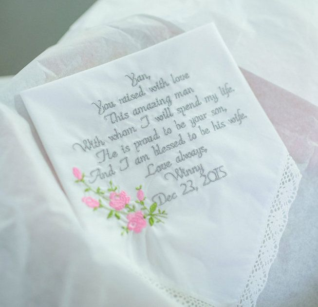 Mother Of The Groom Gift Embroidered Wedding Handkerchief For Grooms Mom