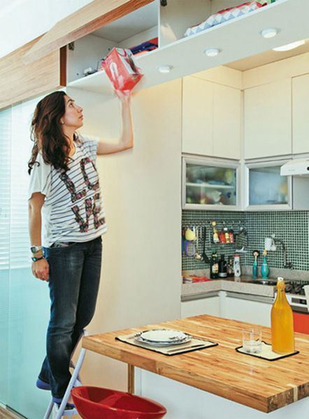 Aproveitamento da parte aérea a cozinha integrada com a sala