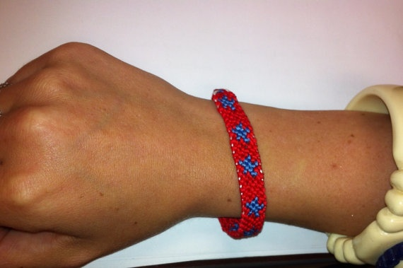 Red String Bracelet with Blue Stars by StringBeaner on Etsy, $10.00
