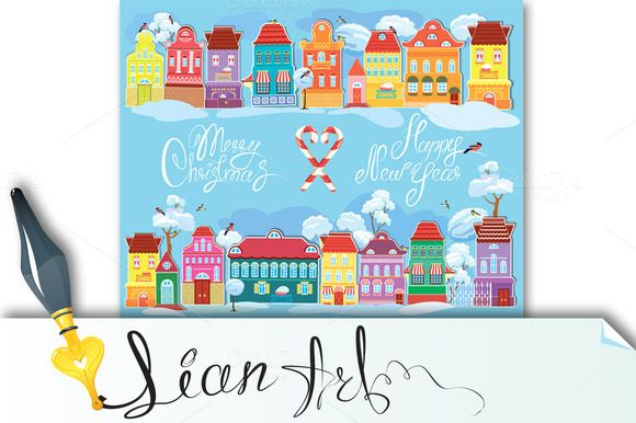 Check out Christmas and New Year holidays card by Lian-art on Creative Market