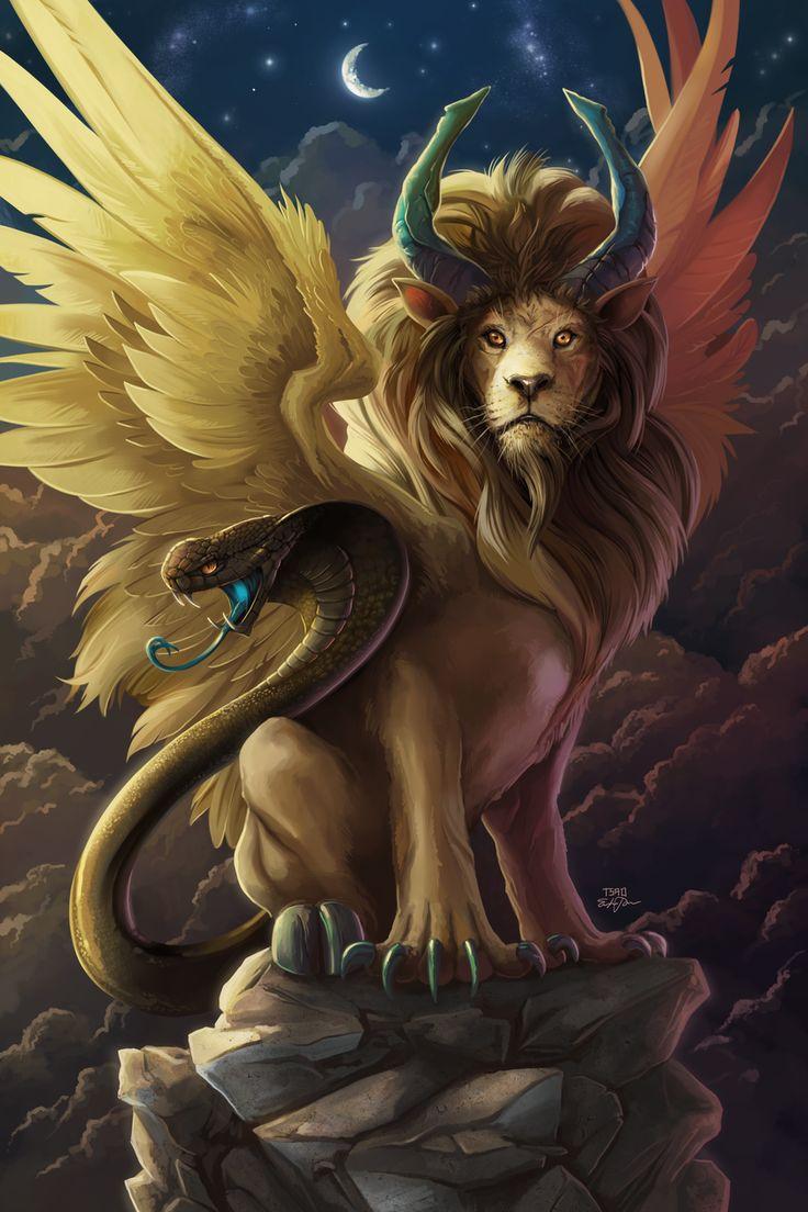 CHIMERE = (Mythologie grecque) Créature fantastique malfaisante décrite comme un hybride avec une tête de lion, un corps de chèvre, et une queue de serpent.  Elle désigne toutes les créatures composites possédant les attributs de plusieurs animaux ainsi que les rêves ou les fantasmes et les utopies impossibles. (Illustration : TSAOSHIN - Chimera)