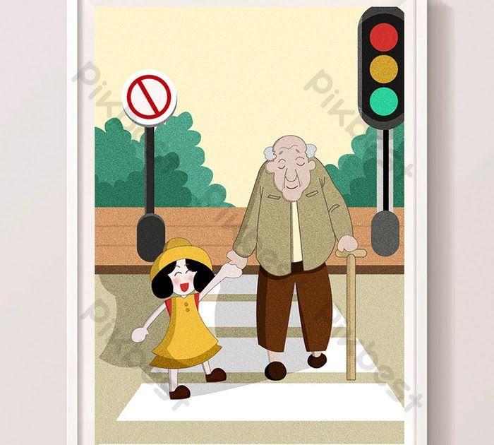 Menakjubkan 30 Gambar Kartun Membantu Orang Tua Warna Kartun Gadis Kecil Membantu Datuk Menyeberangi Jalan Download Negara Har Gambar Kartun Kartun Gambar