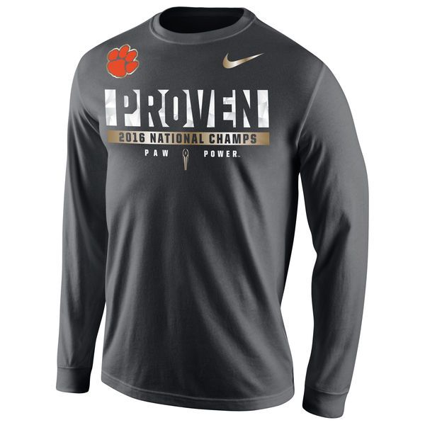 Clemson Tigers Nike College Football Playoff 2016 National Champions Locker Room Long Sleeve T-Shirt - Anthracite - $39.99