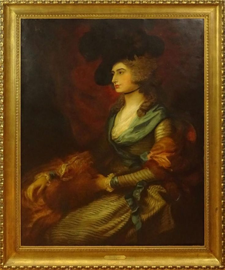 """after: Thomas Gainsborough, British (1727-1788) Oil on Canvas, """"Portrait Of Sara Siddons"""" Unsigned. Antique relining, restoration, antique condition. Measures 48-1/2"""" x 38-3/4"""", frame measures 56-3/8"""" x 46-1/2"""". Shipping: Third party"""