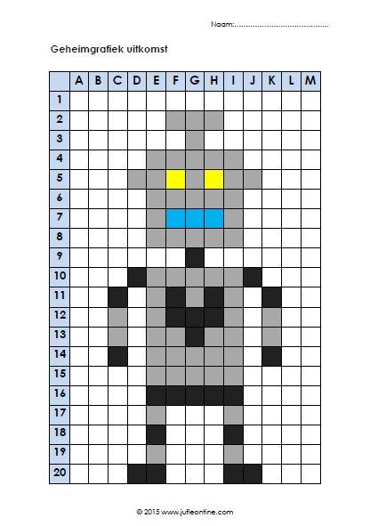 Geheimgrafiek Robot. Past mooi bij het thema Raar maar waar van de Kinderboekenweek 2015.