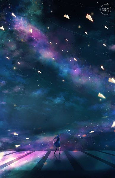 Image d'anime 900x1390 avec  original sugarmints long hair single tall image blue hair signed night wind from behind night sky full body walking watermark milky way girl thighhighs dress black thighhighs star (stars)