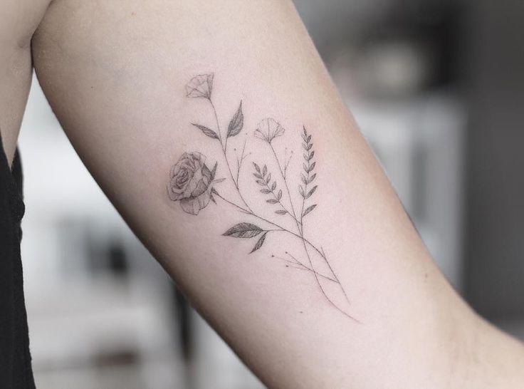 "2,024 Likes, 10 Comments - Lindsay April (@lindsayapriltattoo) on Instagram: ""Single needle florals for Megan! Thanks so much."""