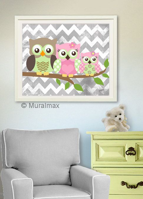 Owl Print For Nursery Baby Family Art Whimsical S Room Decor Pinterest And