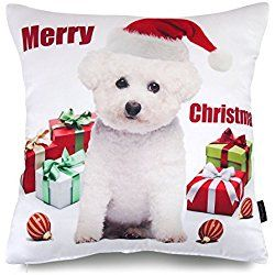 "Phantoscope Dog Series Decorative Throw Pillow Case Cushion Cover Christmas Bichon 18 ""X18 ""- New!!"