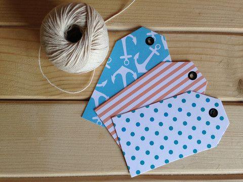 Tags - Coral polka dots & blue anchors