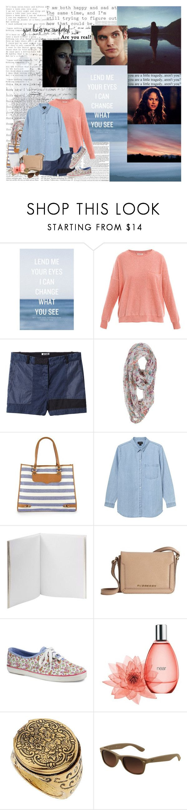 """""""Give it up. I can't give it up."""" by luxecouture ❤ liked on Polyvore featuring Elite, Effy Jewelry, Demylee, Acne Studios, Rebecca Minkoff, Monki, Pineider, Burberry, Keds and Gap"""