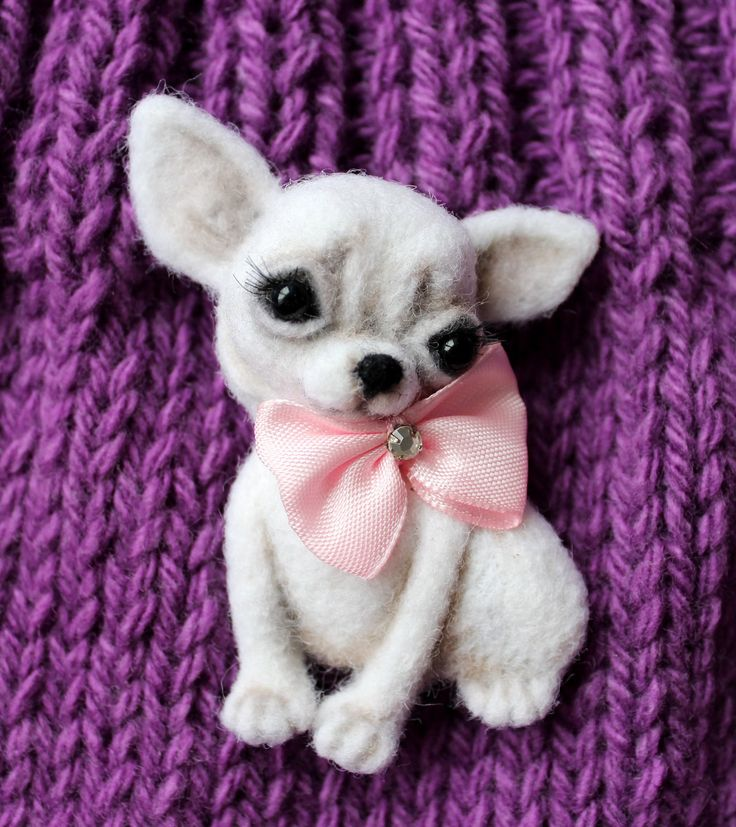 Brooch made of wool dog Chihuahua by ARTfeltingShop on Etsy