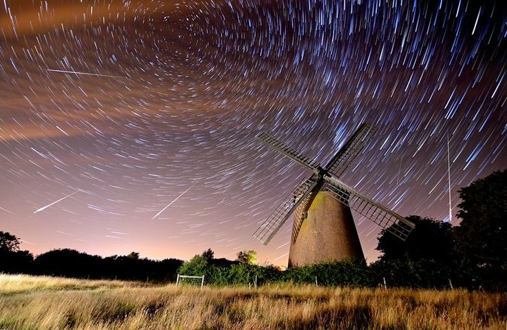 Perseid Meteor Shower over Bembridge Windmill - Isle of Wight