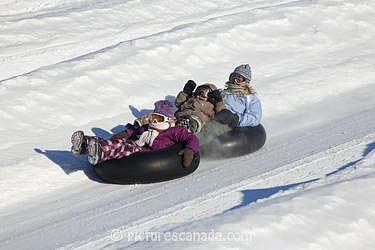 Quebec, the Laurentians, Saint-Sauveur ski resort, Snow Tubing