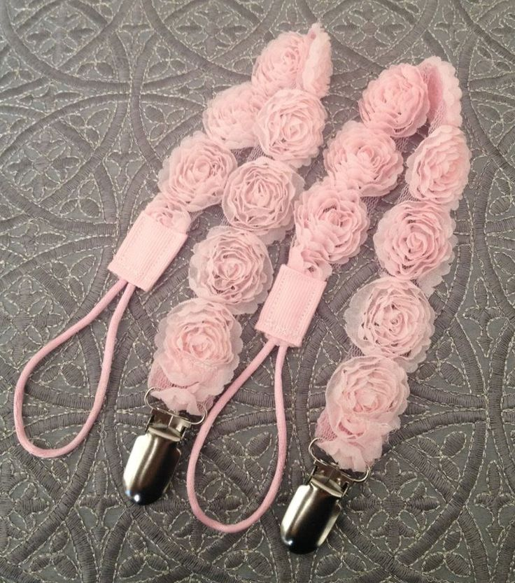 BEAUTIFUL Shabby Chic Rosettes Baby PACIFIER CLIP for the Princess Baby Girl In Your Life...Mam Soothie ready to ship. $11.00, via Etsy.