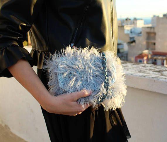 Shaggy crossbody handbag Light blue purse Mini purse Faux