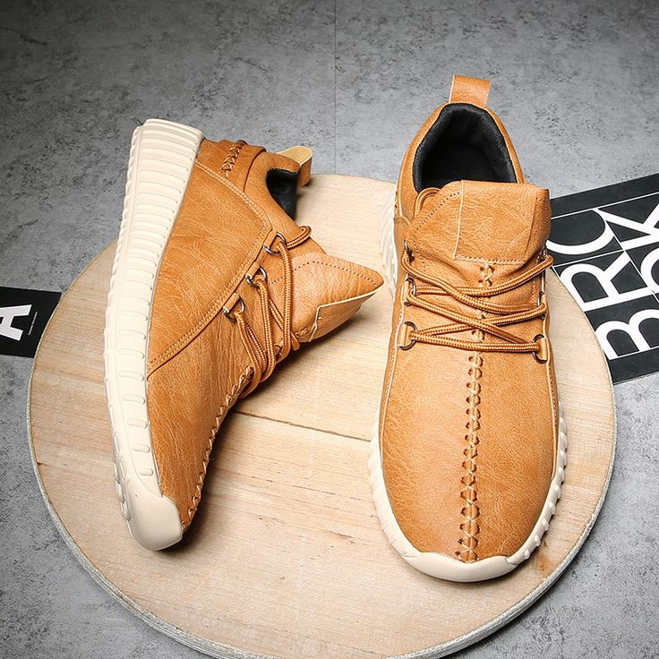 Fashion Men Microfiber Leather Stitching Soft Lace Up Running Sneakers - NewChic