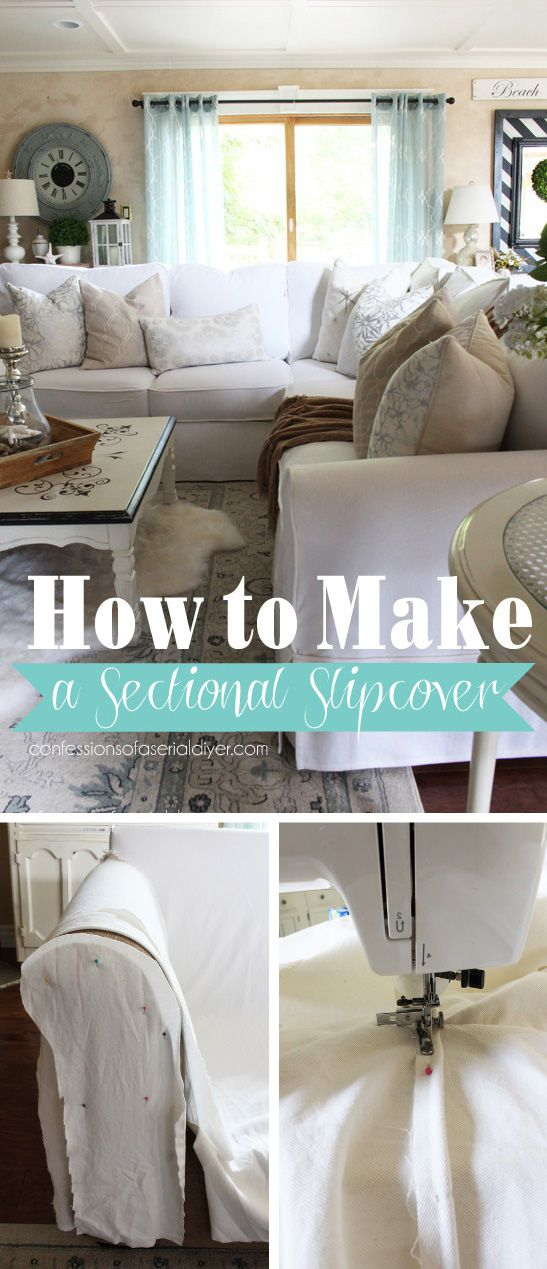 Step-by-step tutorial for making your own custom sectioanl slipcover by Confessions of · Sectional Sofa SlipcoversSectional Couch ... : sectional with chaise slipcovers - Sectionals, Sofas & Couches