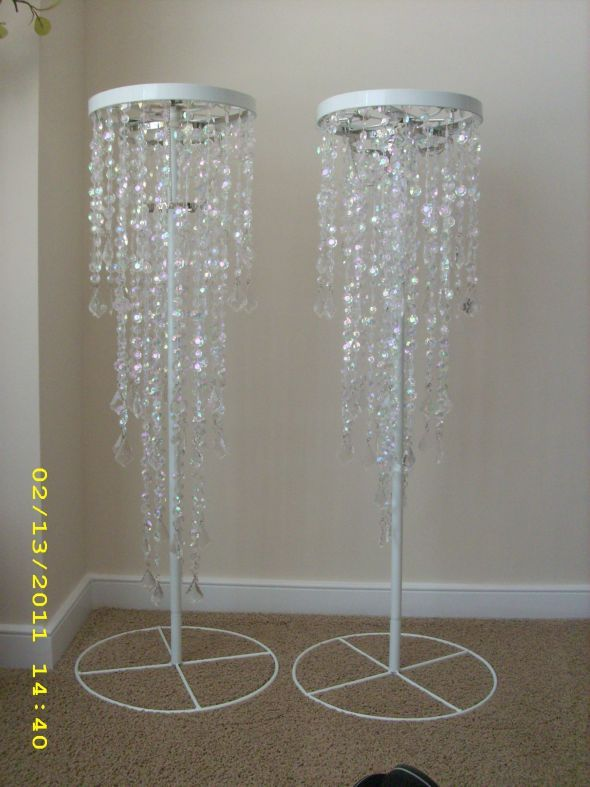 Crystal Iridescent Beaded Chandelier And Stand Wedding