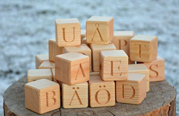 29 Swedish Alphabet Wooden Blocks Handmade ABC by KlikKlakBlocks