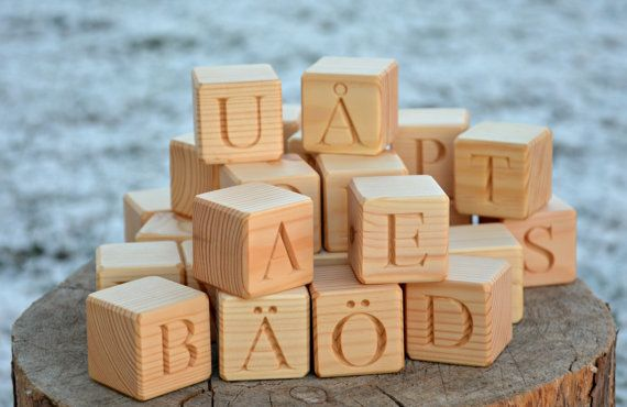 29 Swedish Alphabet Wooden Blocks Handmade ABC by KlikKlakBlocks