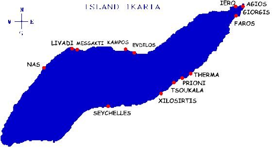 Map of the Greek Island of Ikaria showing its amazing beaches