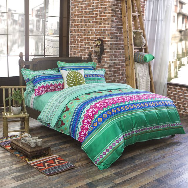 Luxe Bohemian beddengoed set 4 stks koning/koningin/full size katoen vintage beddengoed sets sprei lakens luxe thuis textiel