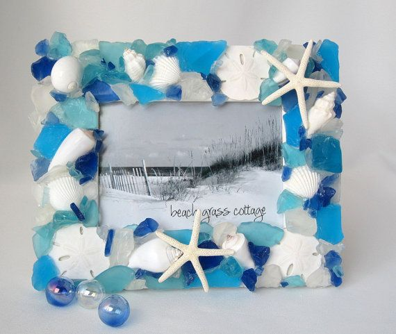 Seashell Frame Sea Glass Frame Beach Decor by beachgrasscottage