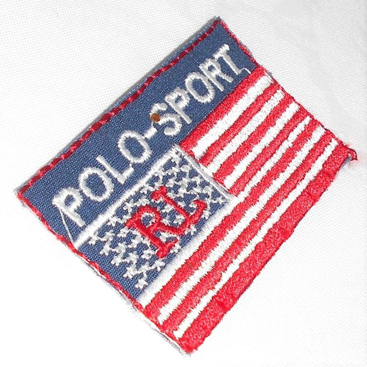 "Ralph Lauren Polo Sport Flag Embroidered Small Patch Approx Size  3"" x 1.8"" #RalphLaurenPoloSport"