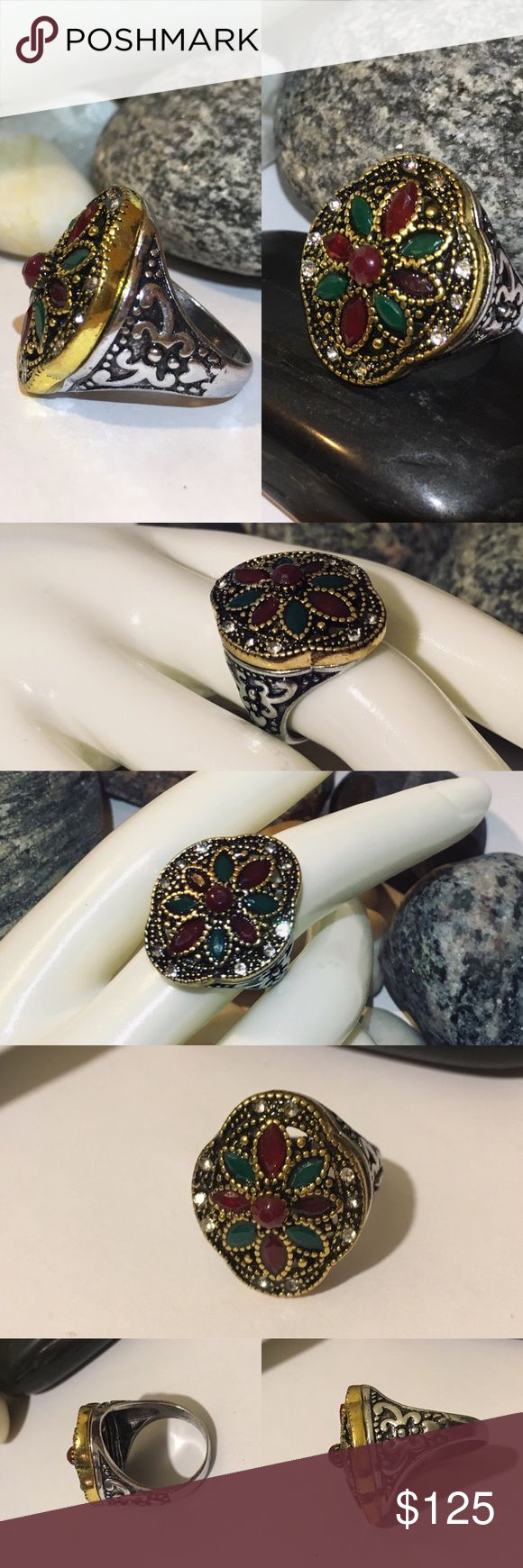 Emerald+Ruby Turkish Victorian Festive Brass Ring …