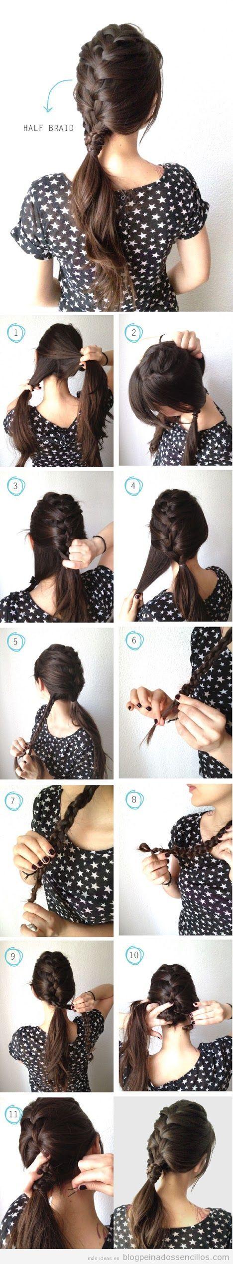 Peinado sencillo, tutorial media trenza paso a paso