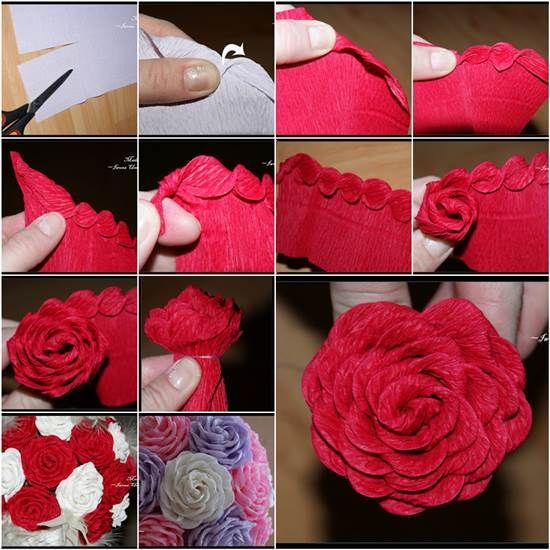 how to diy unique crepe paper rose facebook fleur et fleurs en papier cr pon. Black Bedroom Furniture Sets. Home Design Ideas