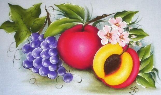 Pintura em Tecido Passo a Passo Com Fotos: Pintura em Tecido Frutas Pêssegos e Uvas Pano de P...
