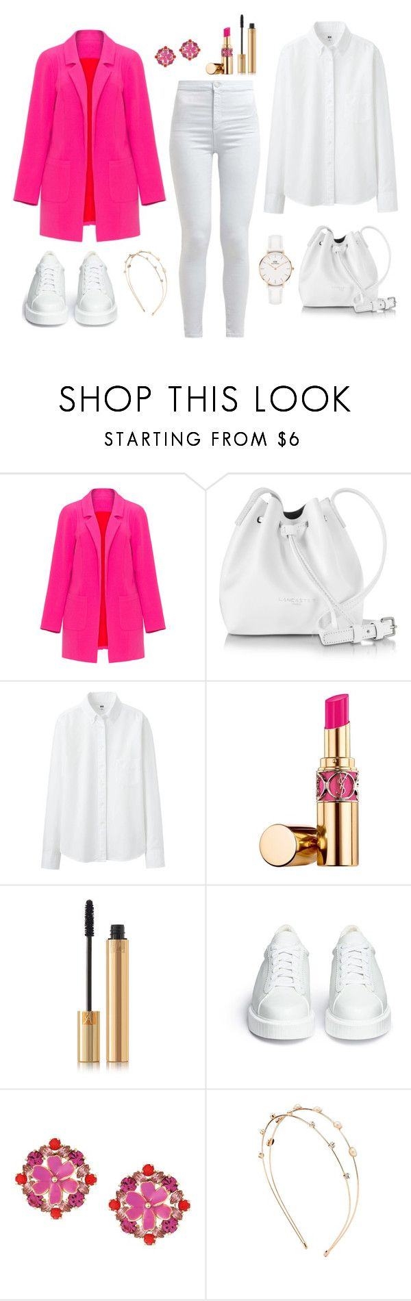 """Untitled #353"" by bajka2468 on Polyvore featuring Miss Selfridge, Lancaster, Uniqlo, Yves Saint Laurent, Robert Clergerie, Kate Spade, Charlotte Russe, Daniel Wellington and CoffeeDate"