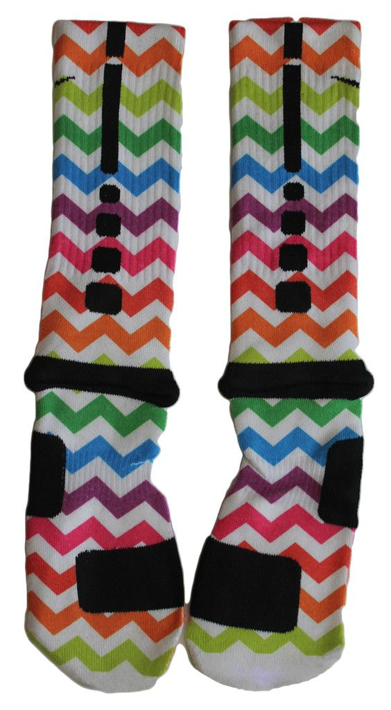 Custom Nike Elite Socks. Rainbow zig zag