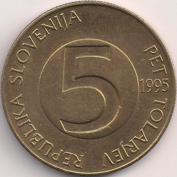 Wertseite: Münze-Europa-Mitteleuropa-Slowenien-Tolar-5.00-1992-2006