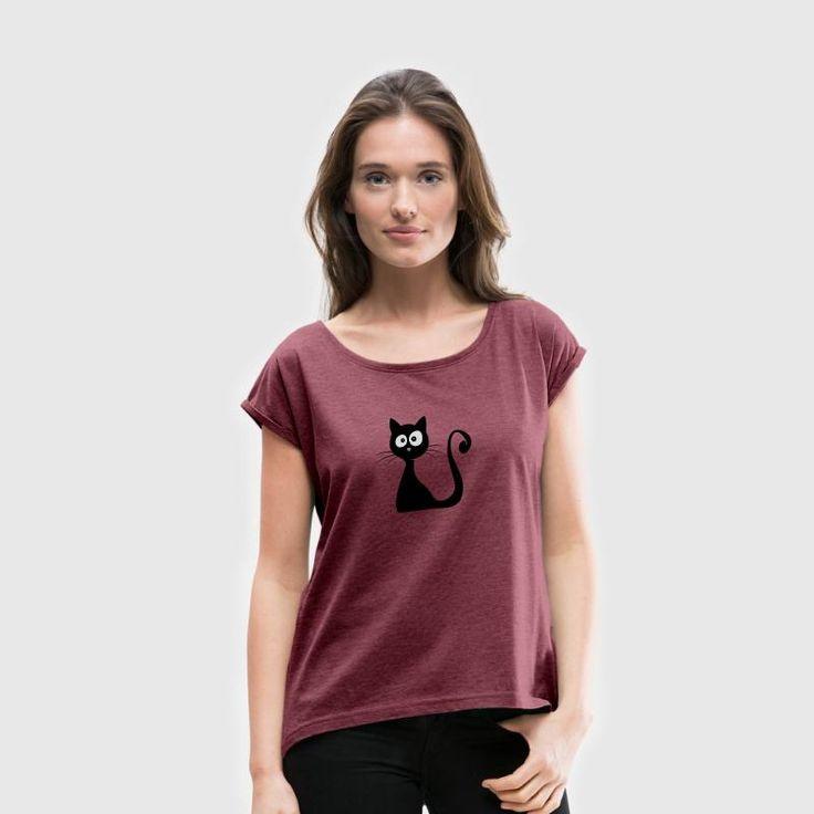 katze comic lustig Katzenliebhaber süßes Geschenk - Frauen T-Shirt mit gerollten Ärmeln