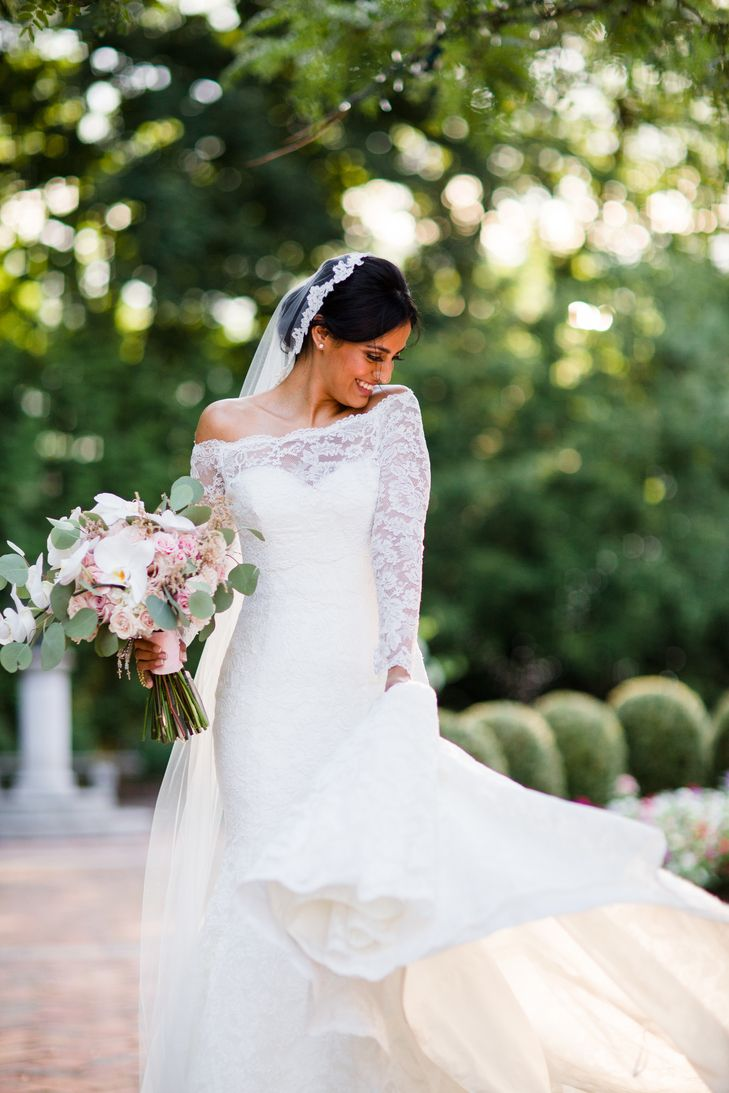 Dennis Basso Lace Mermaid Wedding Dress | Dennis Basso | Kleinfeld | Badgley Mischka | Melissa D'Aloia and Co. | Pink Dahlia Floral & Event Design https://www.theknot.com/marketplace/pink-dahlia-floral-and-event-design-parsippany-nj-442652 | Asya Photography https://www.theknot.com/marketplace/asya-photography-philadelphia-pa-563741