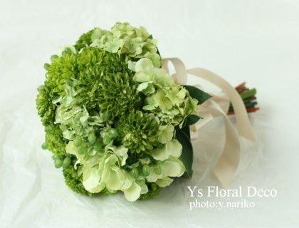 グリーンのグラデーションブーケ アーティフィシャルフラワー @ハワイ ys floral deco