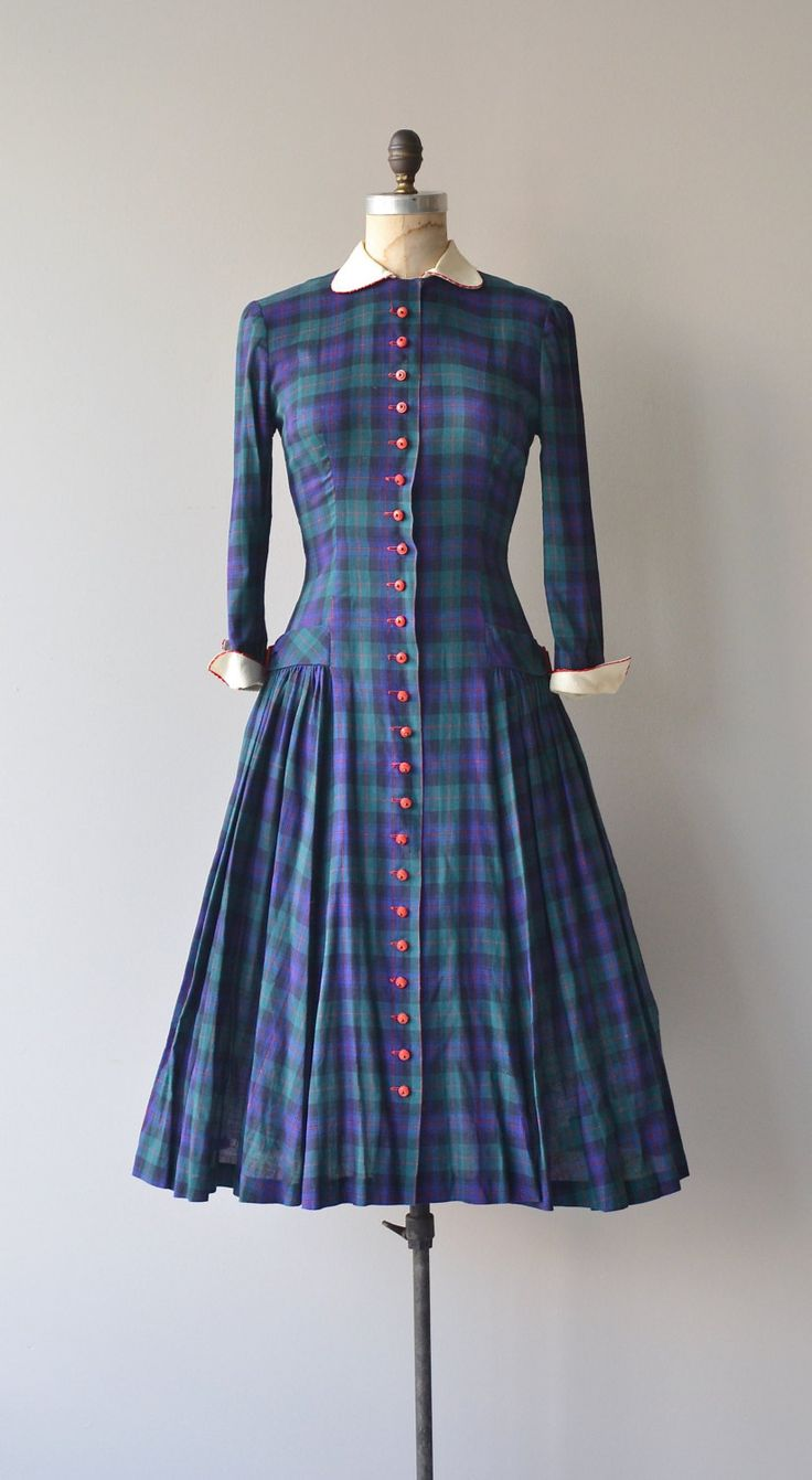 Flynn Plaid dress vintage 1940s dress 40s plaid by DearGolden