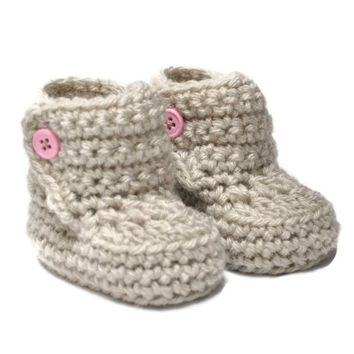 Baby Booties with Button Top size 0 to 6 by threekittensknitting c6775d1dfab