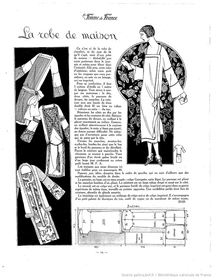 free sewing vintage pattern / La Femme de France 1925