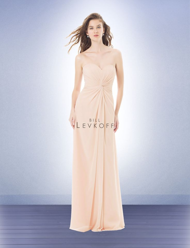 Bridesmaid Dress Style 484 - Chiffon strapless gown with a sweetheart neckline. Knot front dress with soft gathers. Pleats accent the back.
