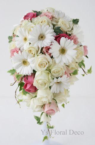 ガーベラとバラのキャスケードブーケ  ys floral deco