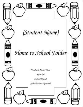 A cover for your student's Home to School Folder or Homework Folder is very helpful for not only teachers but parents too.  This product is a simple design with all the necessary information you need.  It's black and white so that students can color and personalize it on the first day of school.