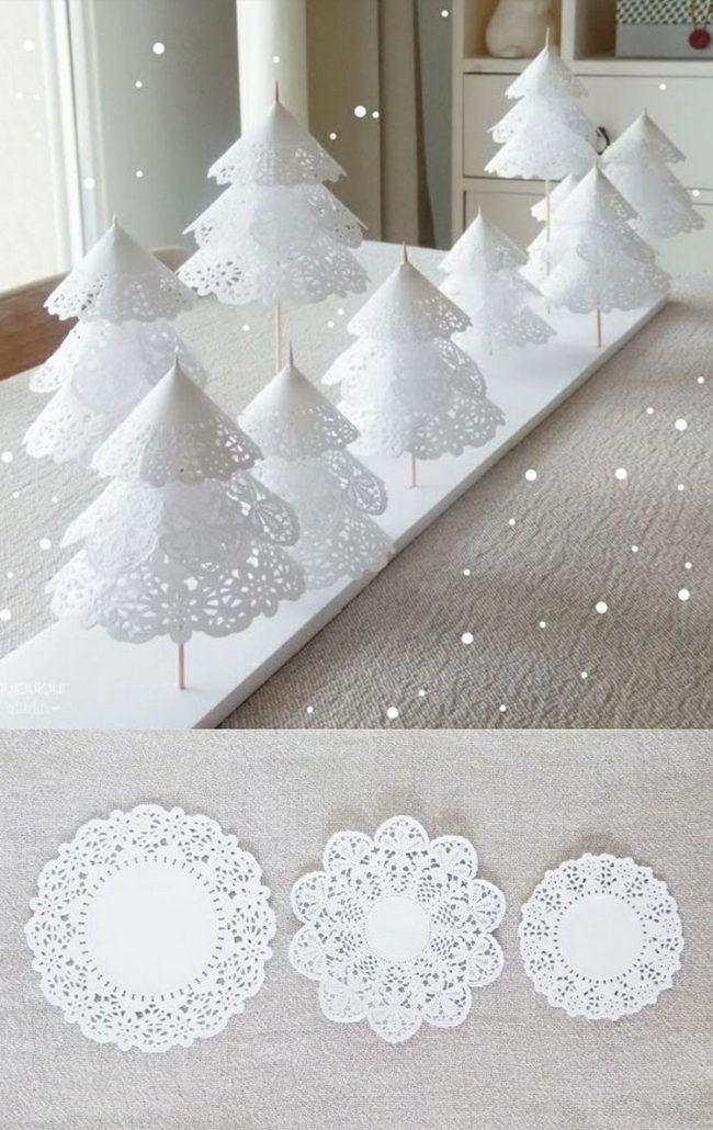 weihnachtsdeko selber basteln zierdeckchen tannenbaume. Black Bedroom Furniture Sets. Home Design Ideas