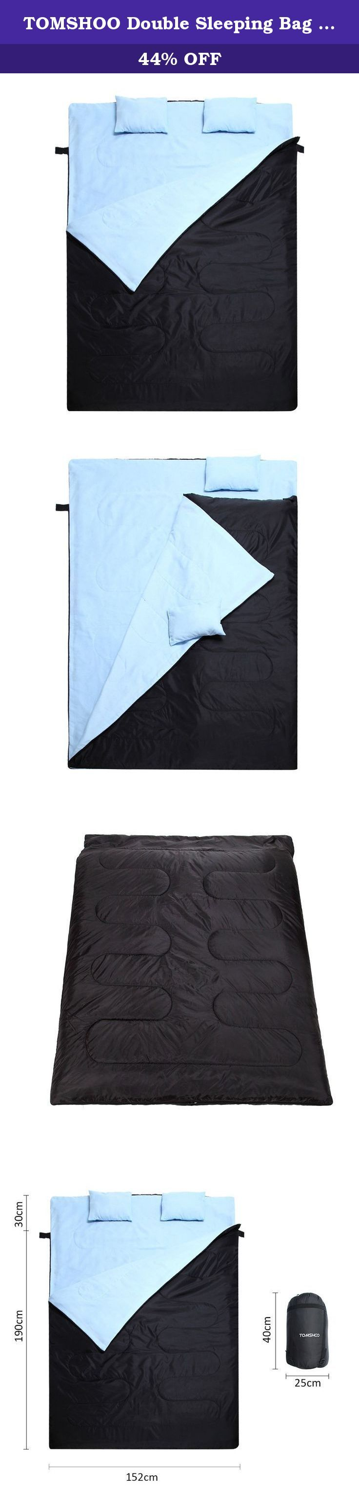 """TOMSHOO Double Sleeping Bag 2 Person 23°F~32°F with 2 Pillows and a Carrying Bag, Backpacking Sleeping Bag for Couple Outdoor Camping Hiking 86""""x 60"""". This double sleeping bag with compression stuff sack is the best companion for your travel. This envelope-style sleeping bag with 2 pillows is lightweight and can keep you warm and help you to have a good sleep at your camp site after a day of hiking and climbing. Features: 190T polyester shell and brushed fabric lining. Hollow fiber…"""